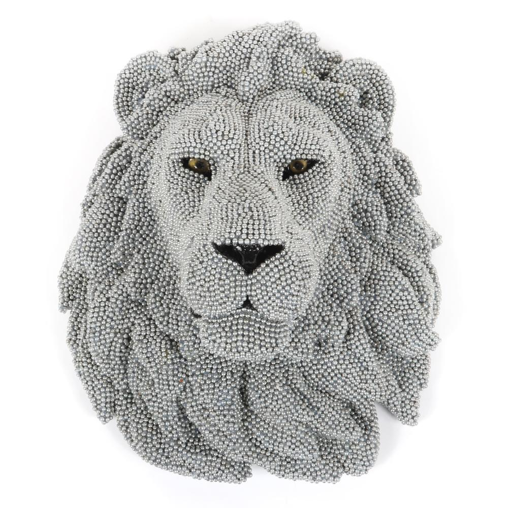 """Courtney Timmermans, (Chicago, 21st Century), Lion - Urban Herd Series, 2012, cast resin, air rifle bb's, glass eyes, mixed media, 16""""H x 13 1/2""""W x 9""""D."""