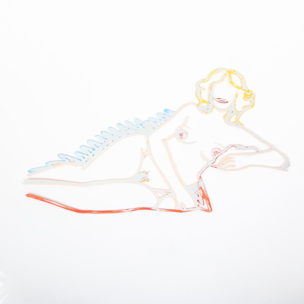 """Tom Wesselmann, (American, 1931-2004), """"Rosemary Lying on One Elbow"""" from the Steel Drawing Edition, 1989, alkyd on laser cut steel, 8""""H x 15""""W x 1/8""""D."""