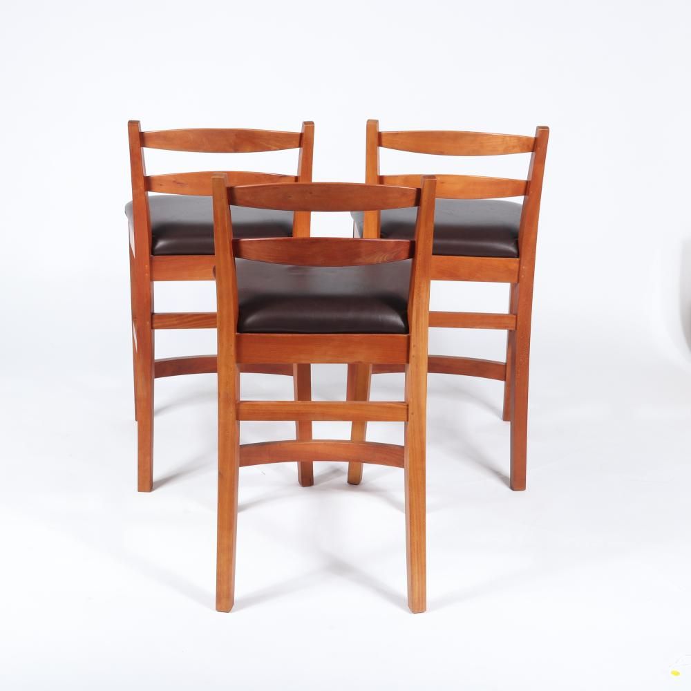 """Thos. Moser Handmade American Furniture, Maine set of three counter stools. 37 1/2""""H x 20""""W x 16 1/2""""D (one chair).26""""H floor to seat."""