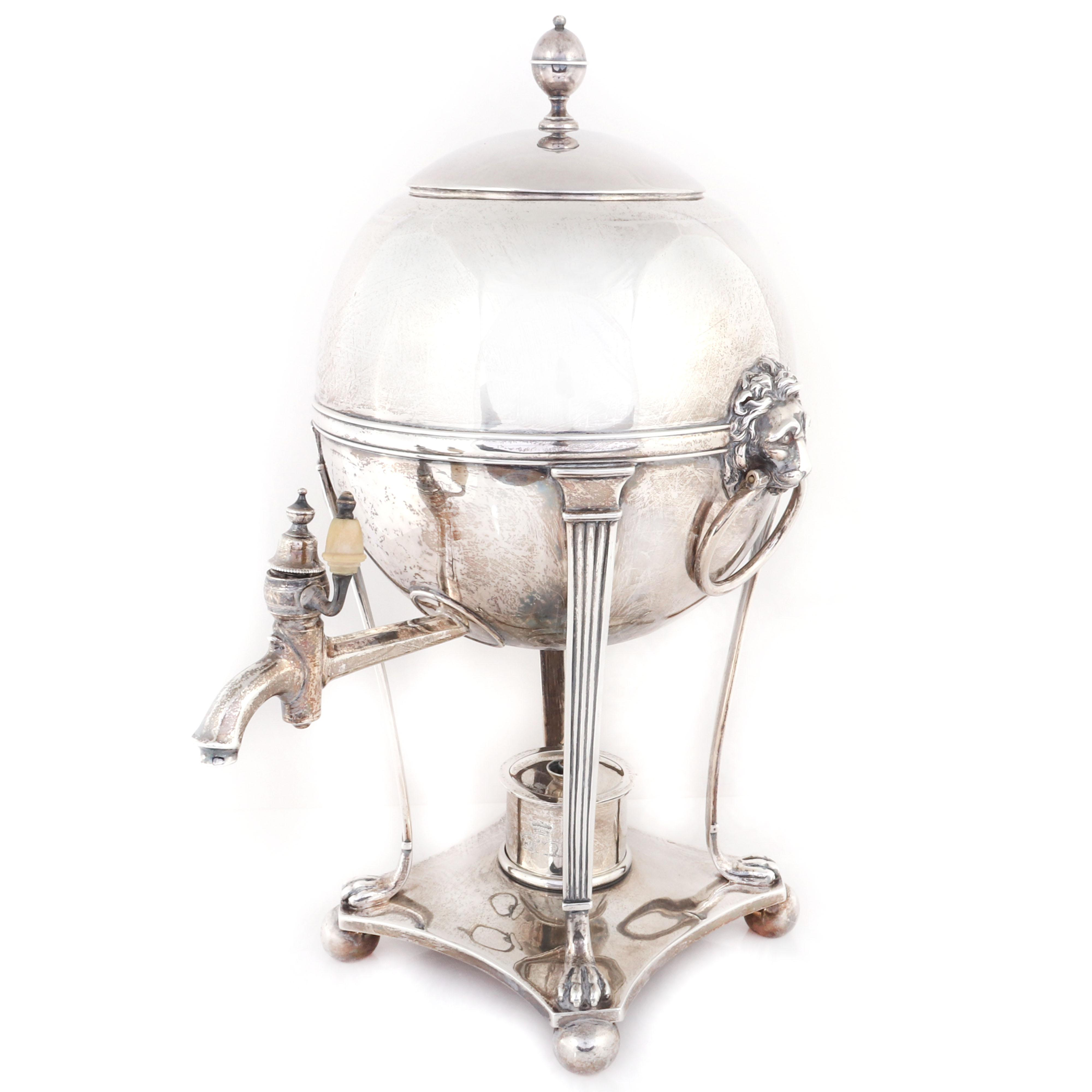 George III Paul Storr, London, Neoclassical sterling silver hot water urn, 1804 hallmark. 16 1/2 inches to the top of the urn finial.