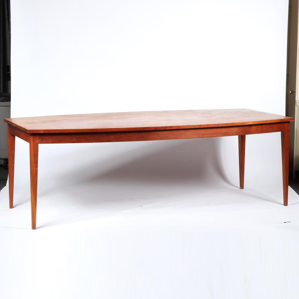 """Thos. Moser Handmade American Furniture, Maine, boat top cherry wood dining table. 30""""H x 90""""W x 45""""D."""