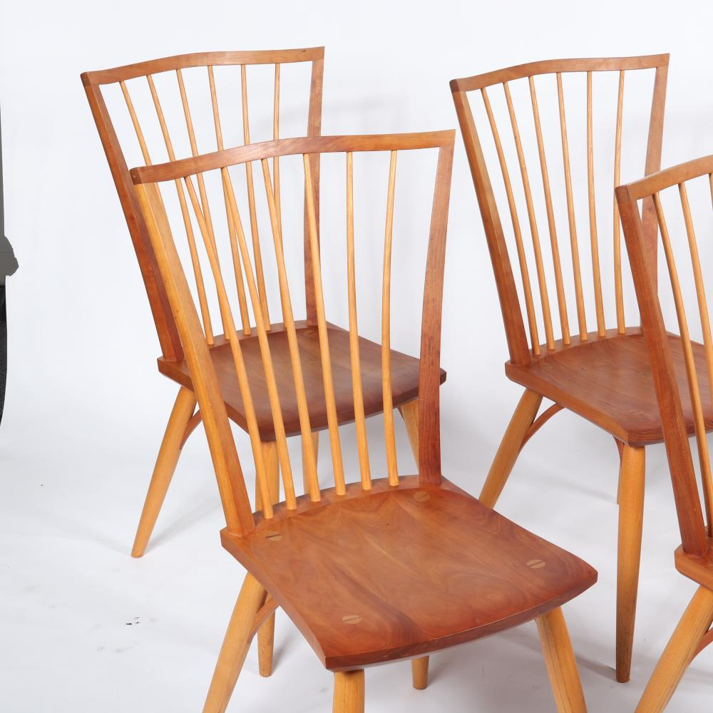 "Thos. Moser Handmade American Furniture, Maine, set of six (6) cherry, walnut Catena dining chairs. 39 1/2""H x 21 1/2""W x 17 3/4""D (one chair)."