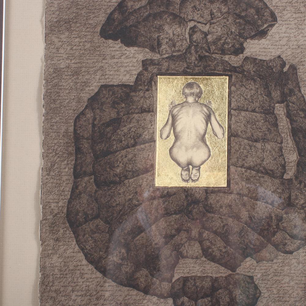 "Suzanne Scherer & Pavel Ouporov, (USA / Russia), Massa Confusa, 1997, original etching, 13"" x 9 1/2"" (sheet), 23""H x 19 1/4""W (frame)."