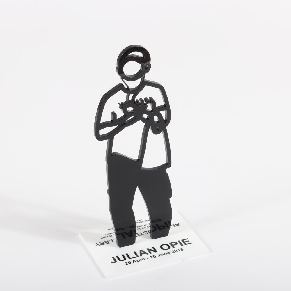 "Julian Opie, (British, b.1958), Portraits Series Alan Cristea exhibition statuette with Shahnoza exhibition materials, 2018, laser cut acrylic, 9 3/4""H (statuette)."