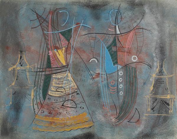 "Konrad Cramer, (American, 1888-1963), Two Dancers, ca.1954, casein on board, 16"" x 20"""