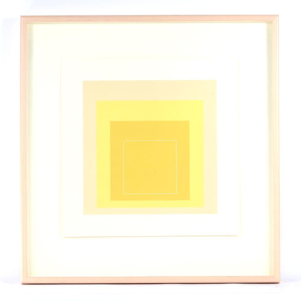 "Josef Albers, (German, 1888-1976), White Line Square XVII, 1967, 3 color lithograph, 20 3/4""sq. (sheet), 15 3/4""sq. (image)."