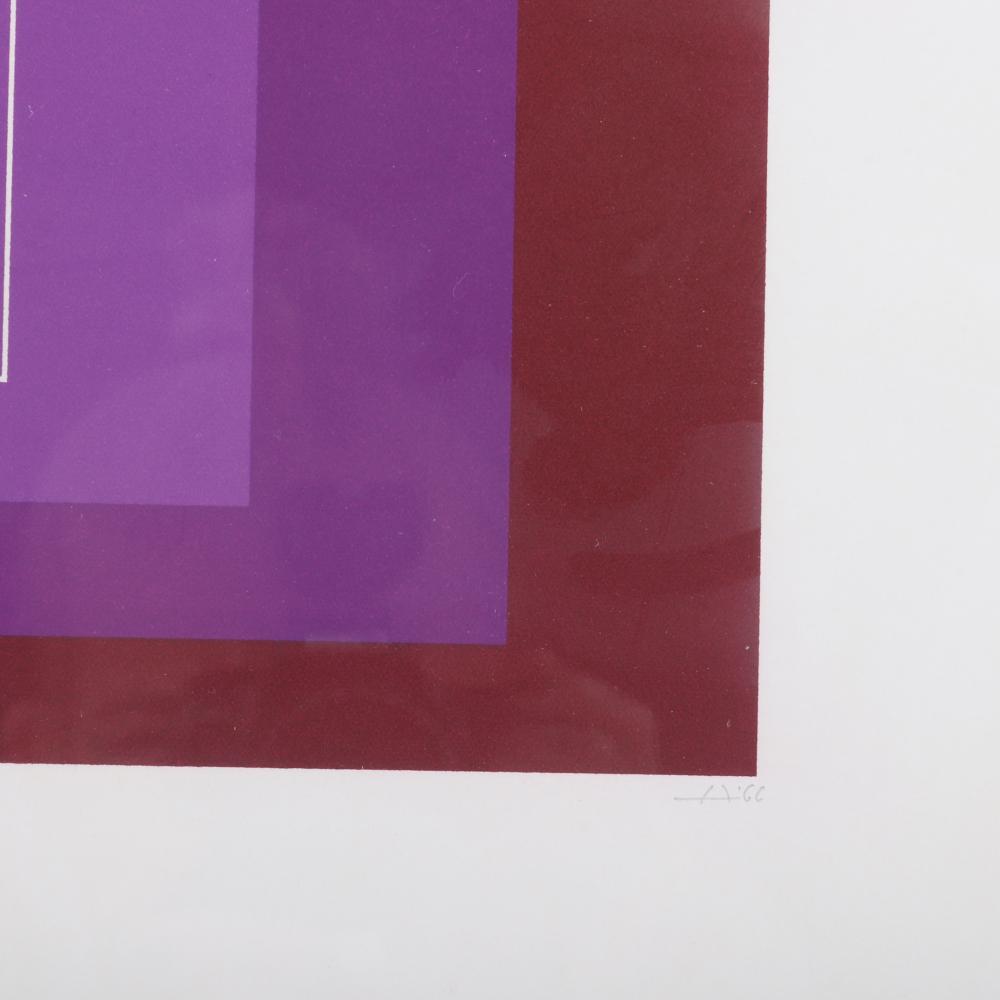 "Josef Albers, (German, 1888-1976), White Line Square XI, (Series II), 1966, 3 color lithograph, 20 3/4""sq. (sheet), 15 3/4""sq. (image)."