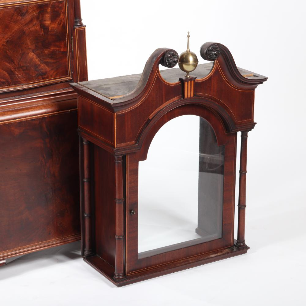 """English eight day tall case Grandfather's clock in figured mahogany case, Wm. Toleman 1790. 96""""H x 20 1/2""""W x 9 1/2""""D."""