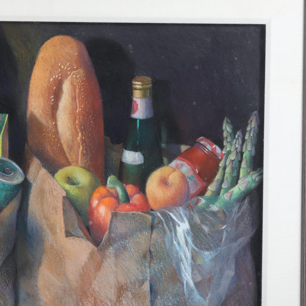 "Roz Hollander, (American, 21st Century), market bags still life, pastel on paper, 22 1/2""H x 33""W (image), 32""H x 42""W (frame)."
