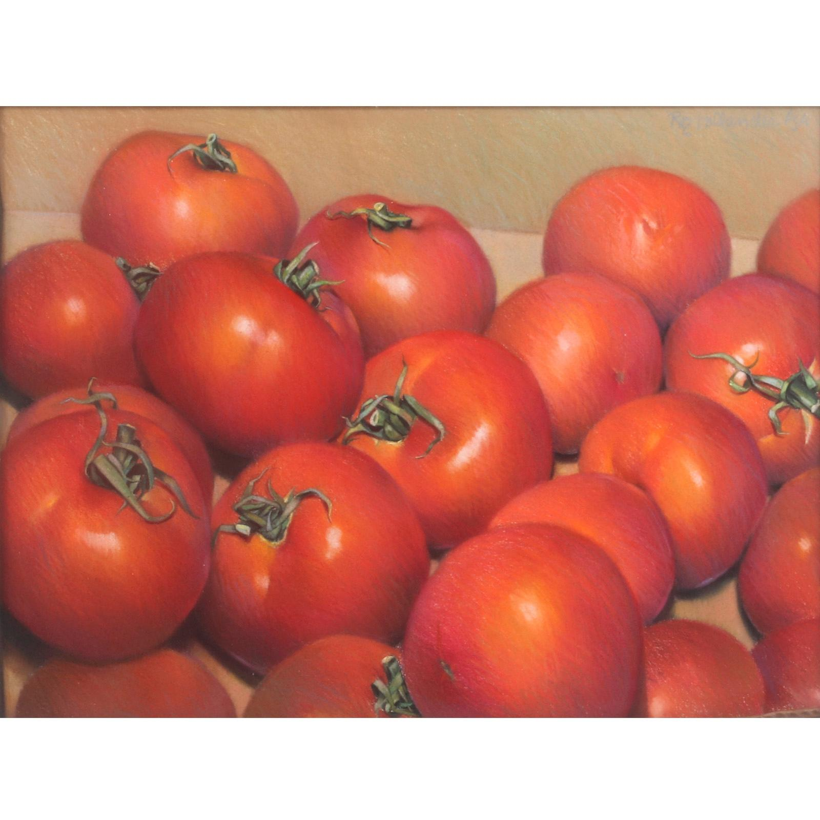 """Roz Hollander, (American, 21st Century), Red Tomatoes, still life, pastel on paper, 20""""H x 27""""W (image), 28 1/2""""H x 35 3/4""""W (frame)."""