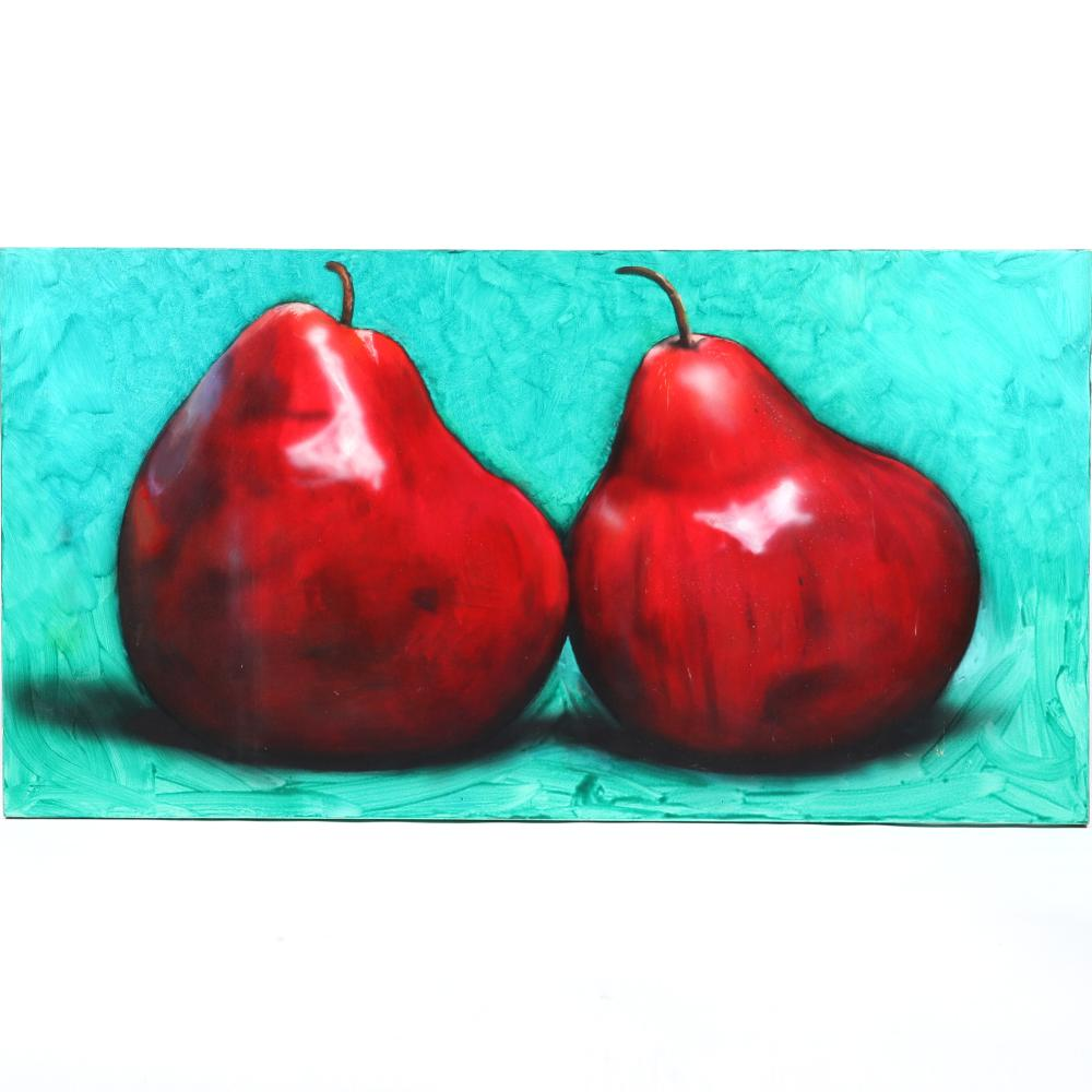 "Tom Seghi, (American, b.1942), Two Red Pears, 1992, oil on canvas, 42""H x 80""W."