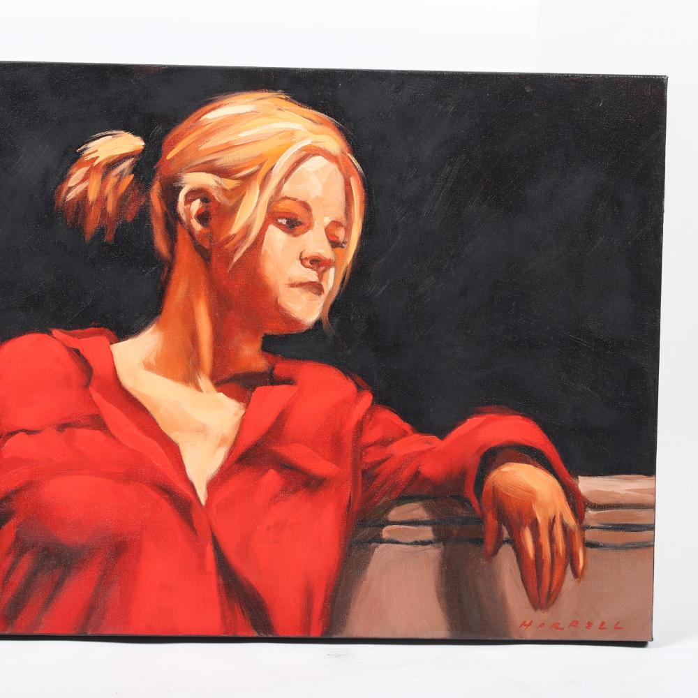 "Rob Harrell, (American, 21st Century), portrait of a girl in red blouse, oil on canvas, 15""H x 30""W."