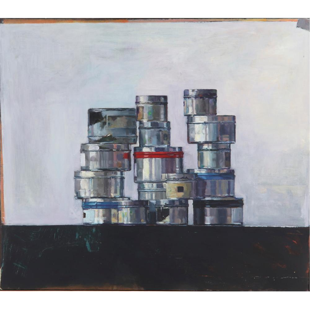 """Nicholas P. Hill, (American, 21st Century), Stacked Tins, oil on canvas, 21 1/2""""H x 24""""W (image), 23 1/2""""H x 26 1/2""""W (frame)."""