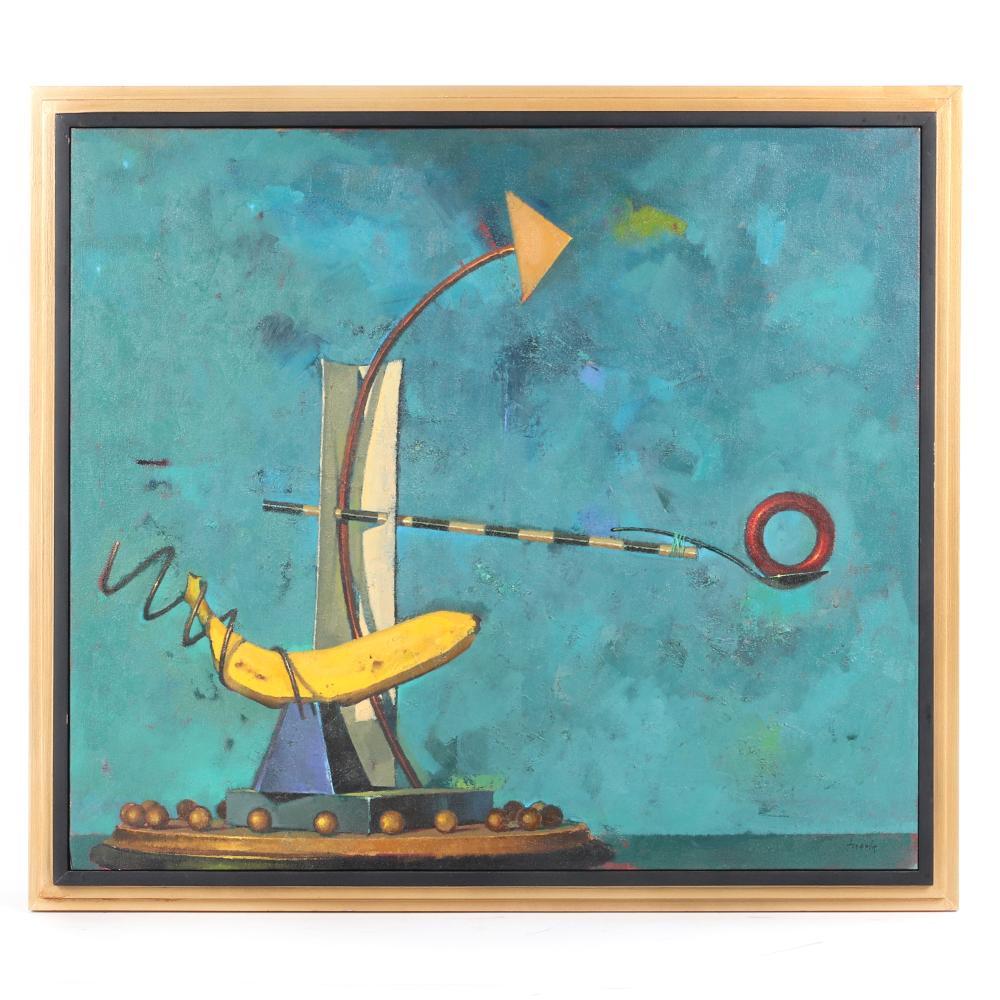 "Brad Fugate, (American, 21st Century), Night Sailing, 1997, oil on canvas, 21"" x 24""W (image), 23 1/2""H x 26 1/2""W (frame)."