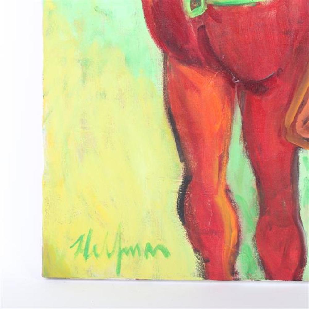 "Sydney Helfman, (California/New York, 1926-2010), Cowboy on horse, oil on canvas, 40""H x 30""W."
