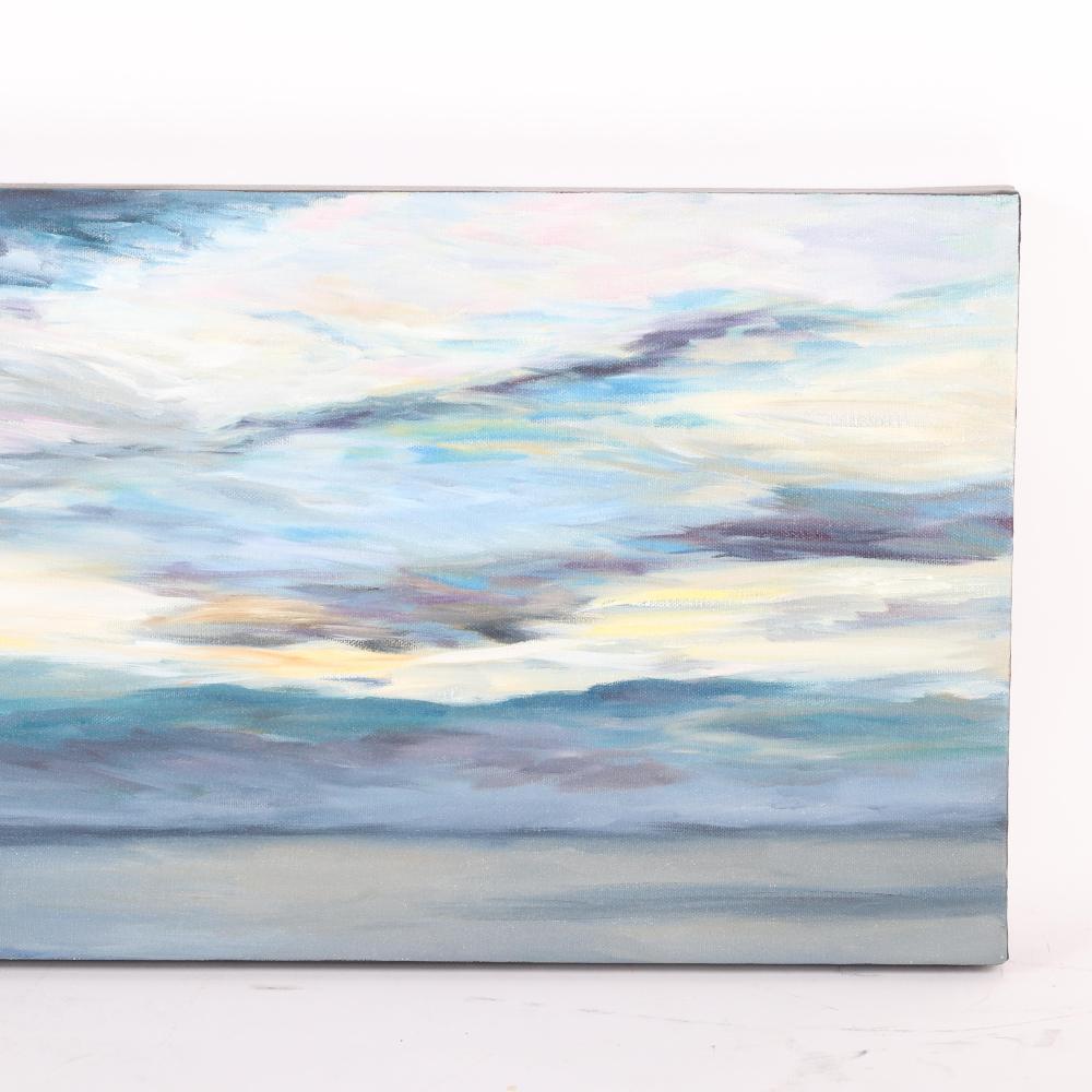 "Valerie Eickmeier, (American, 20th/21st Century), Daybreak - diptych 2011, oil on canvas, 12""H x 36""W."