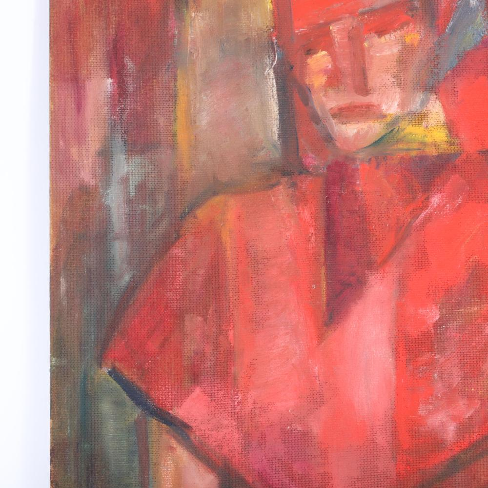 """Frances Pestow, (1908-1983), double sided still life and portrait of a young woman in red scarf, oil on board, 32""""H x 24""""W."""