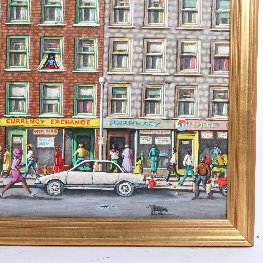 "Melvin King, (African American, 20th Century), Chicago city street scene, 1991, oil on canvas, 29""H x 39""W (image), 34 1/4""H x 44 1/2""W (frame)."