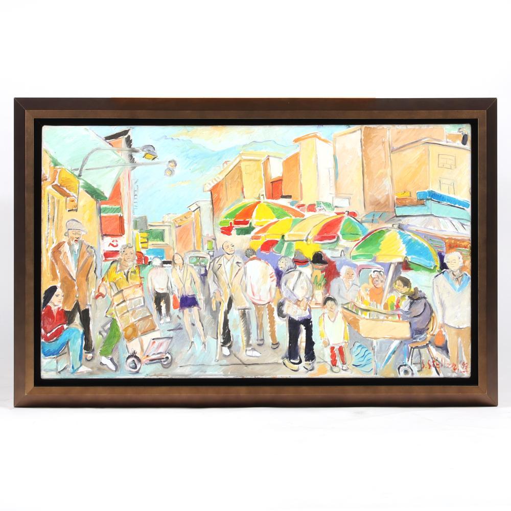 "Stephen Stoller, (American, b.1945), City Market street scene, 1993, oil on canvas, 17""H x 28 3/4""W (image), 21""H x 32""W (frame)."