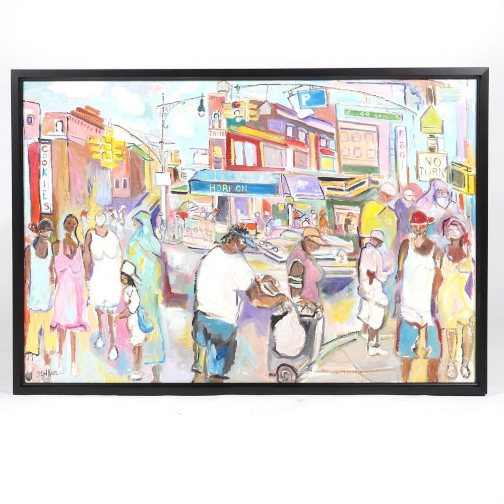 "Stephen Stoller, (American, b.1945), Harlem, New York City street scene, oil on canvas, 29 1/2""H x 43 1/2""W (image), 32""H x 46""W (frame)."