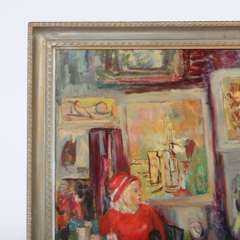 """Ida Nash Gordon, (American, 1903-1983), Floyd Hopper at the Art Festival, oil on canvas, 30 1/2""""H x 39 1/2""""W (image), 35""""H x 45""""W (frame)."""