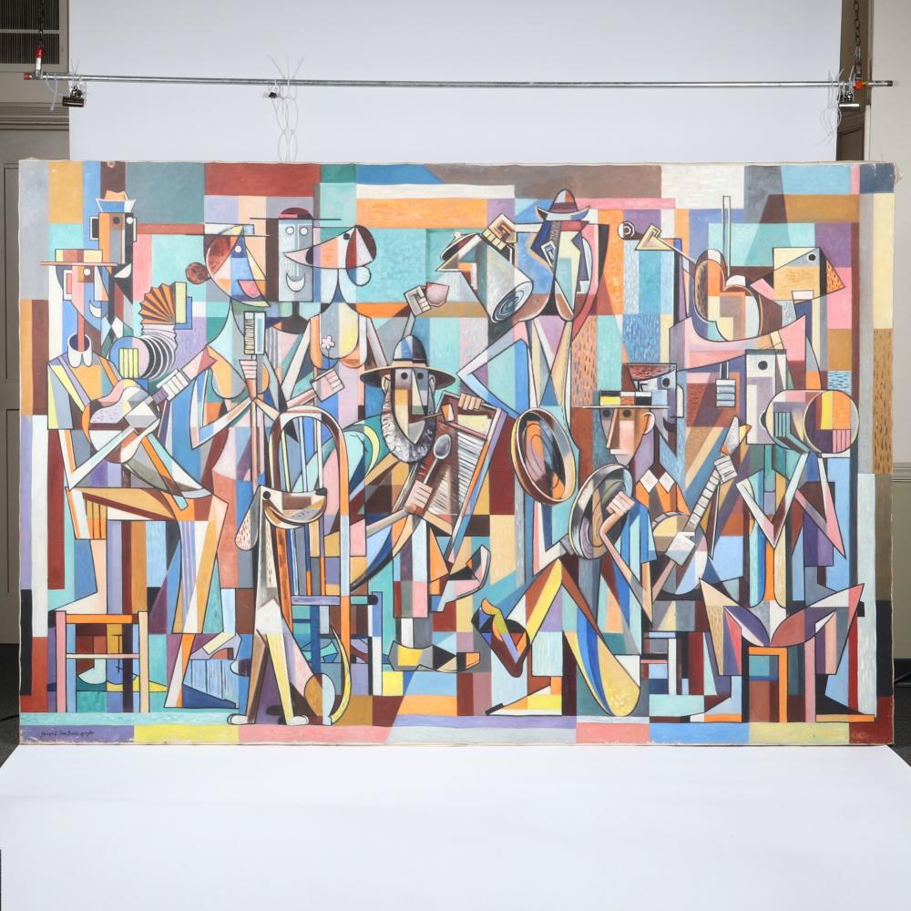 "Joseph L. Van Sickle, (American, 1915-1985), cubist jug band musicians, 1954, mural size oil on canvas, 72"" H x 108"" W"