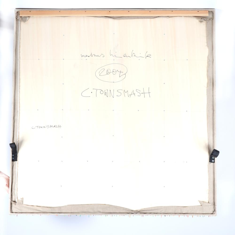 "Markus Linnenbrink, (German, b.1961), C. TOWNSMASH, 2004, epoxy resin drip on linen on wood, 63""H x 63""W."