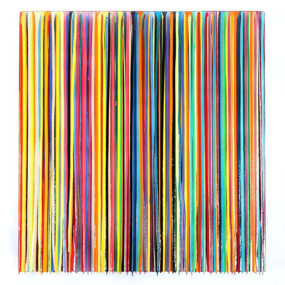 "Markus Linnenbrink, (German, b.1961), MINEISINYOURS, 2004, epoxy resin drip on linen over wood, 40 1/2""H x 37 1/2W""."