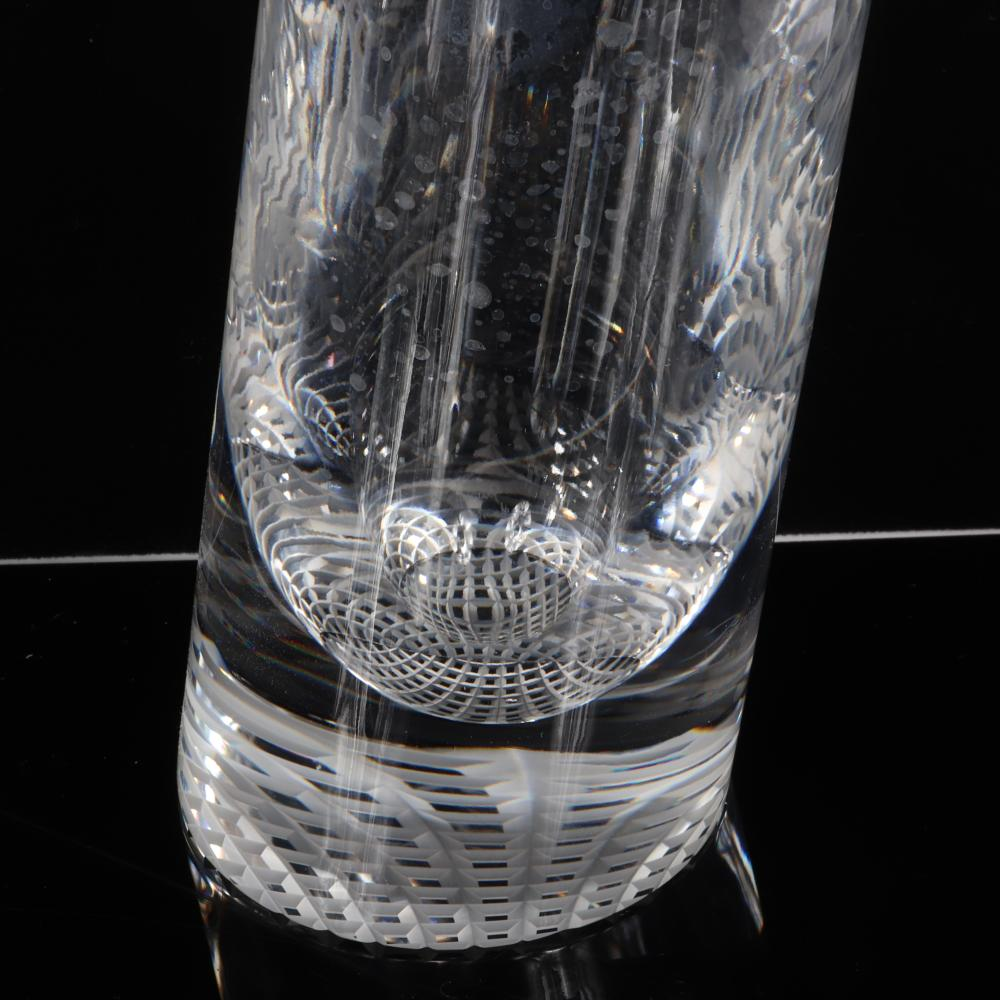 """Thomas Bastide for Baccarat crystal decanter and tumbler set with slanted design, limited edition. 13 1/2""""H (bottle)."""