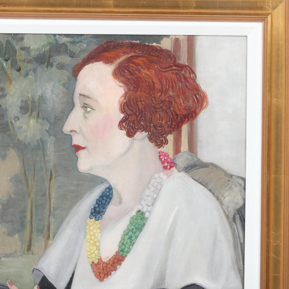 """Janet Scudder, (American, 1869-1940), Portrait of Peggy Guggenheim, 1930s, oil on canvas, 25 1/4""""H x 20 3/4""""W (image), 32 1/4""""H x 28""""W (frame)."""