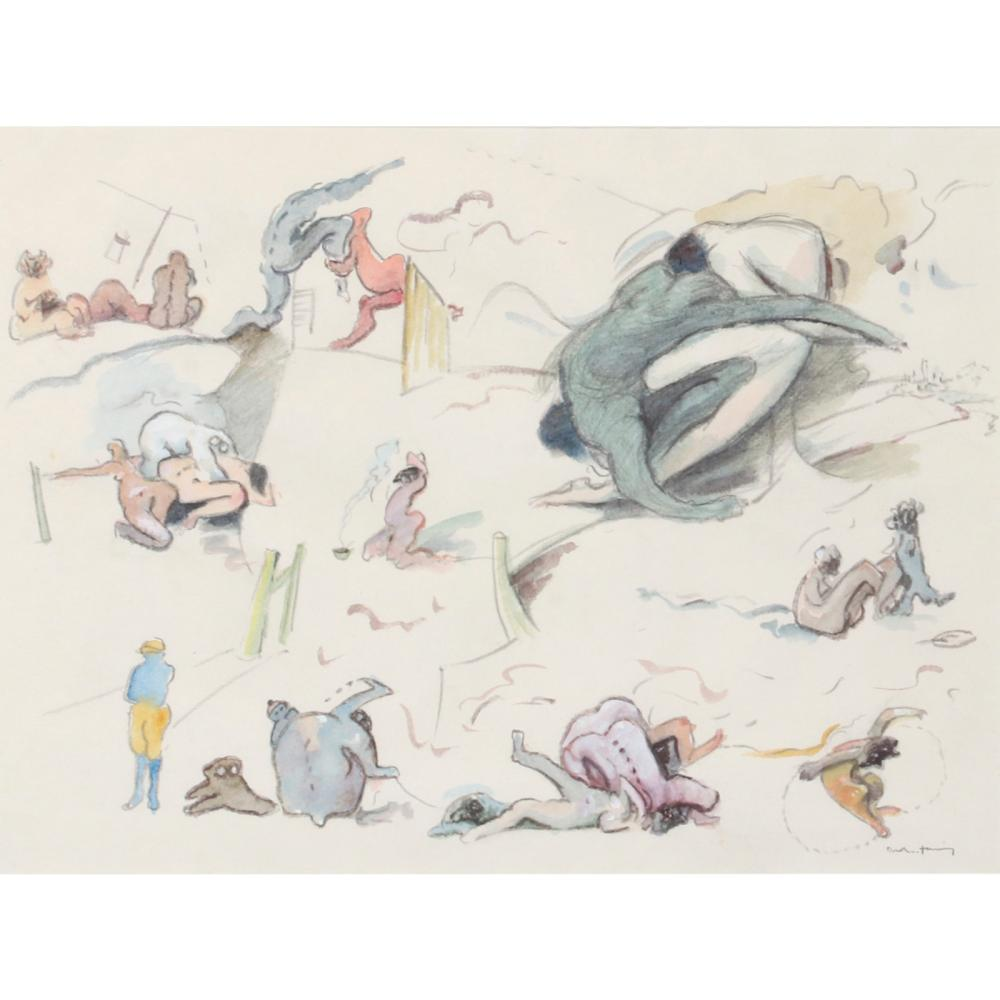 "Dorothea Tanning, (American, 1910-2012), Track and Field, 1982, watercolor and pencil on paper, 17 1/2"" x 25"" (image), 25 1/2""H x 32""W (frame)."