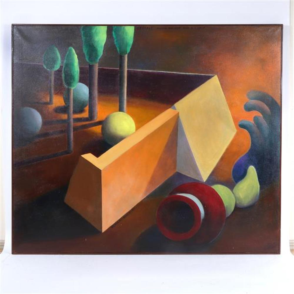 "Doris Vlasek-Hails, (American, 1938-2004), ""Gestalt- Vaughan Williams Mass in G Minor"", surreal acrylic on canvas, 41 1/2"" x 48 3/4"""