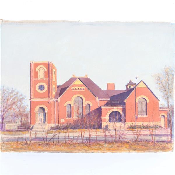 "Harry A. Davis Jr., (Indiana, 1914-2006), Good Samaritan Missionary Baptist Church, 600 E. 22nd ST., watercolor and acrylic on paper, 22 1/2""H x 30 1/4""W."