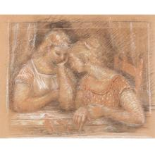 """Harry A. Davis, (American, 1914-2006), Study for Conversation, charcoal and pastel on brown paper, 19 1/2""""H x 24 1/2""""W (image), 29 1/2""""H 34 1/2""""W (frame)."""