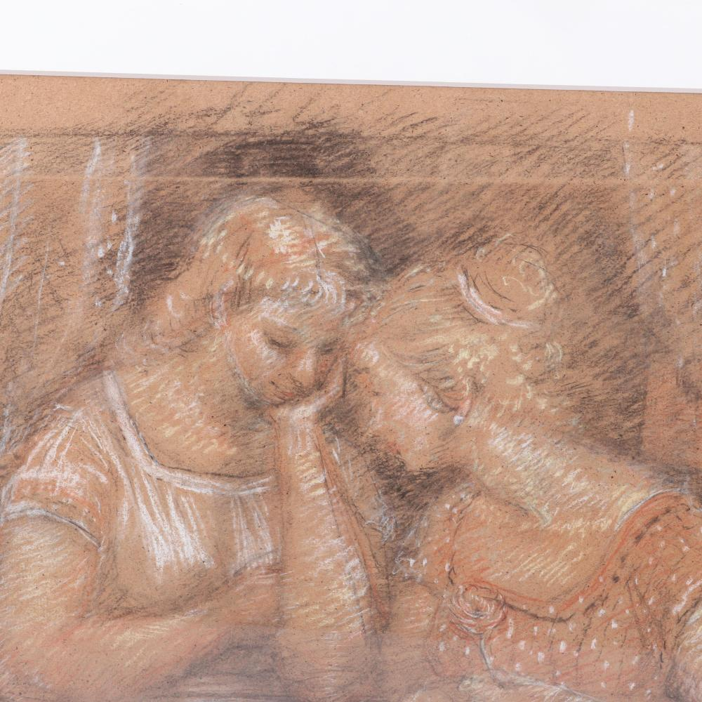 "Harry A. Davis, (American, 1914-2006), Study for Conversation, charcoal and pastel on brown paper, 19 1/2""H x 24 1/2""W (image), 29 1/2""H 34 1/2""W (frame)."