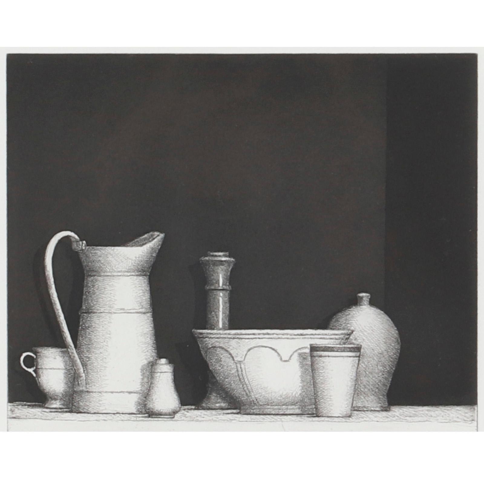 "William H. Bailey, (American, 1930-2020), still life, 1996, etching, 7""H x 8""W (image), 18""H x 18""W (frame)."