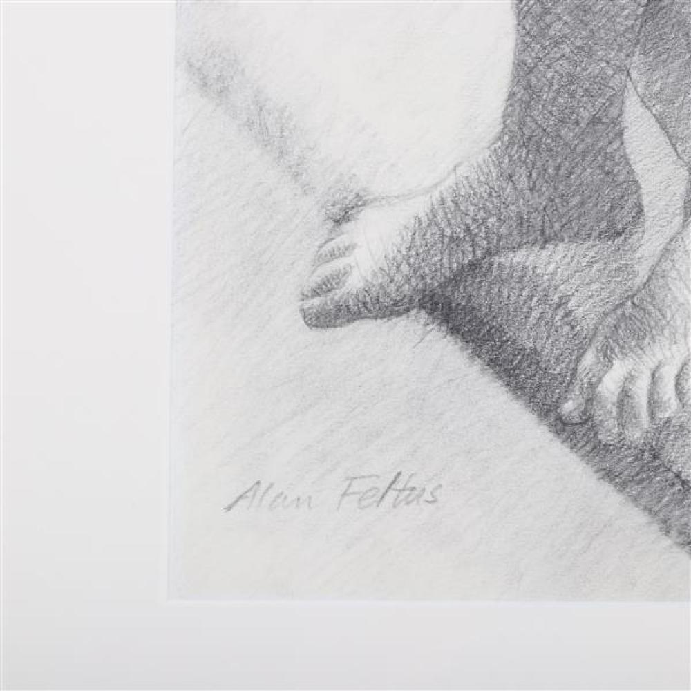 """Alan Feltus, (District of Columbia / Italy, b.1943), female nude, 1973, graphite / pencil on paper, 13""""H x 14 3/4"""" (sight), 20 1/2""""H x 22 1/4""""W (frame)."""