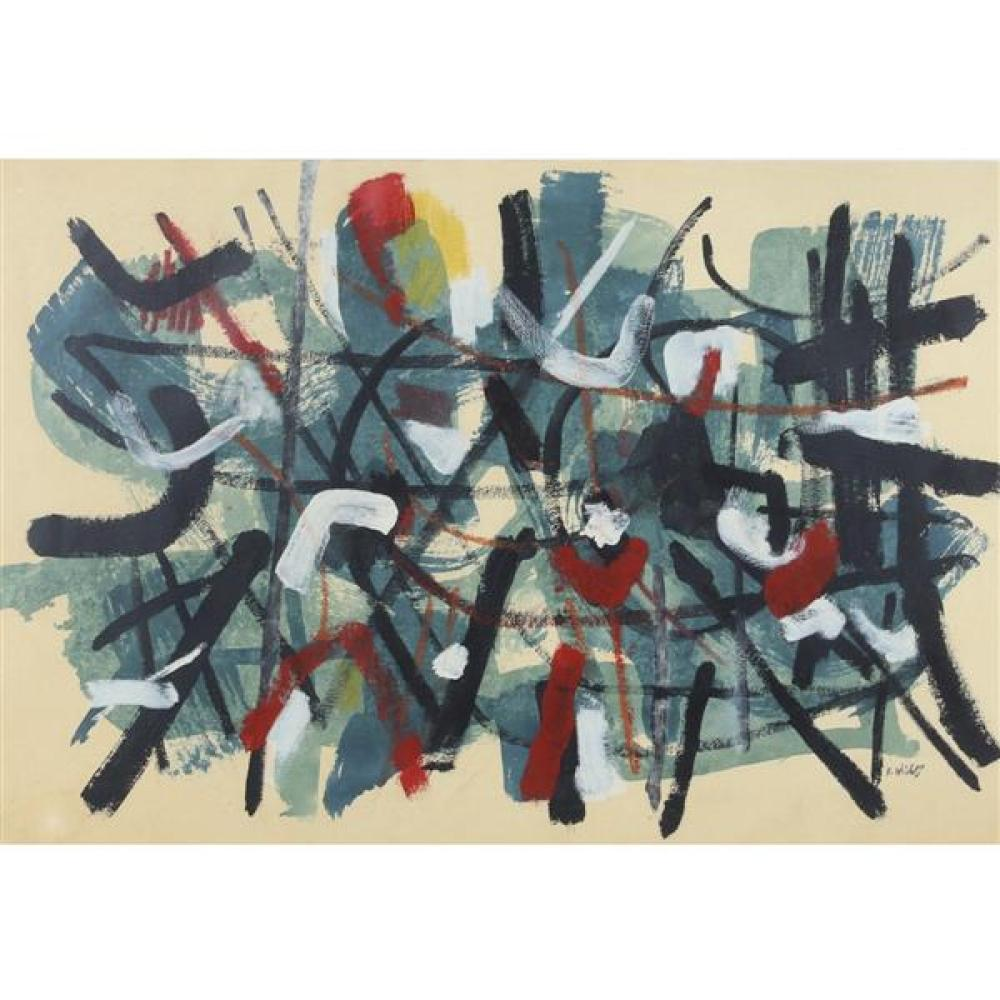 "John Von Wicht, (New York / Germany, 1888-1970), untitled abstract, oil on paper, 26""H x 38""W (sight), 36""H x 48""W (frame)."