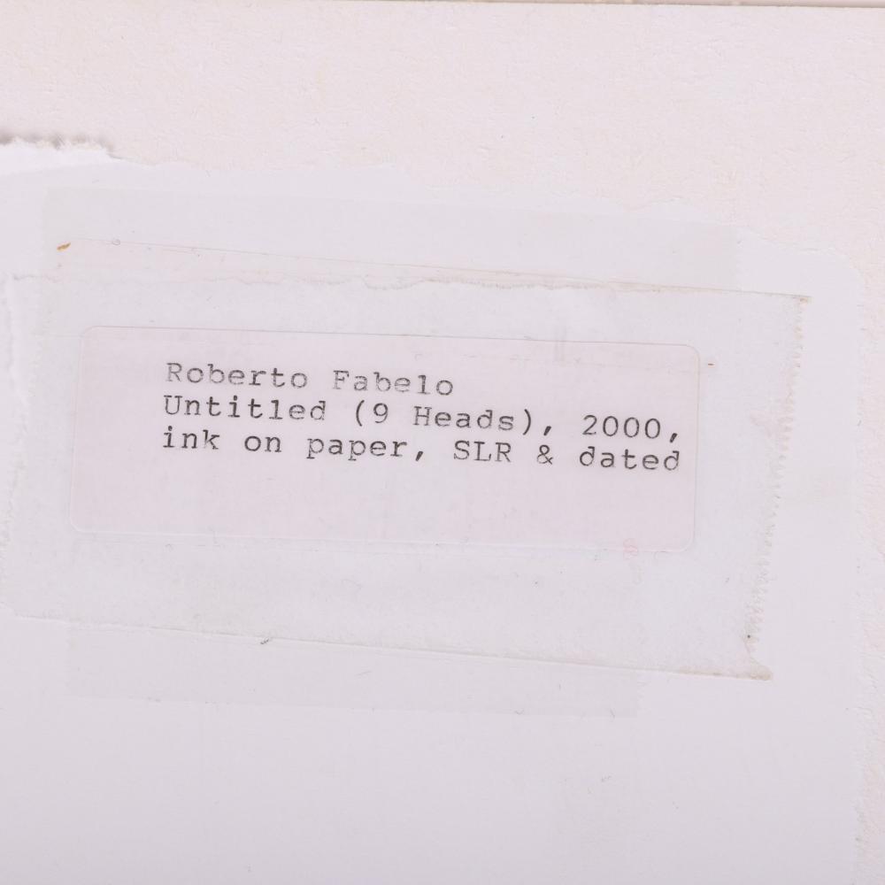 "Roberto Fabelo, (Cuban, B. 1950), Untitled (9 Heads), 2000, 10 1/2""H x 8 1/4""W, 14 1/2""H x 12 1/4""W (matting)."