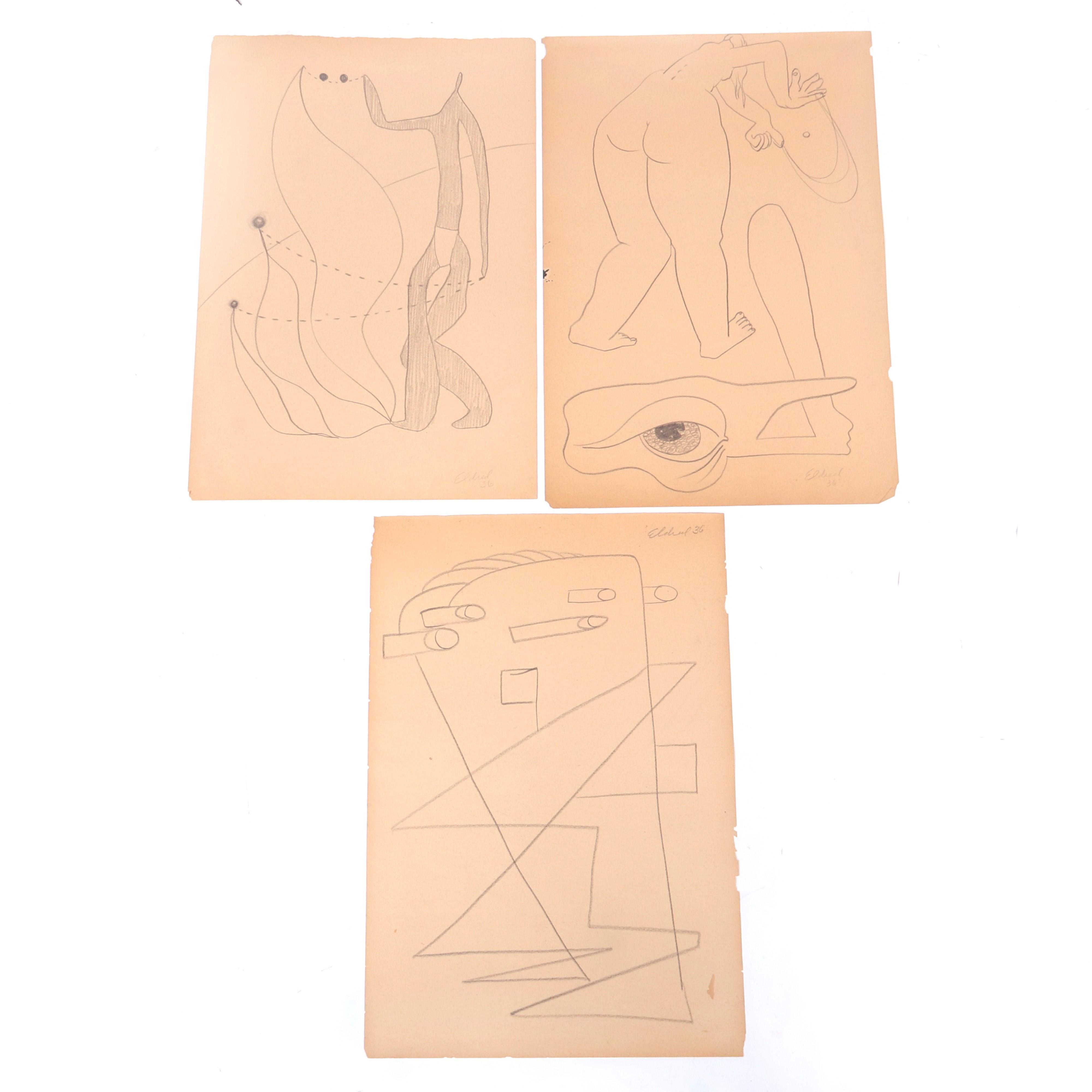 "Thomas Eldred, (New York / Michigan, 1903-1993), THREE surrealist drawings, pencil on paper, 17 1/2""H x 12""W (one- paper)."