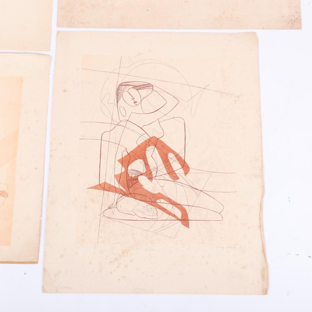 "Philip Platt, (American, 1904-1970), ""Salome"", ""Venus & Adonis"", ""Lost Horizon"", ""A Sick Cat"", set of four modernist abstract figural etchings, 21""H x 17""W (largest paper)."