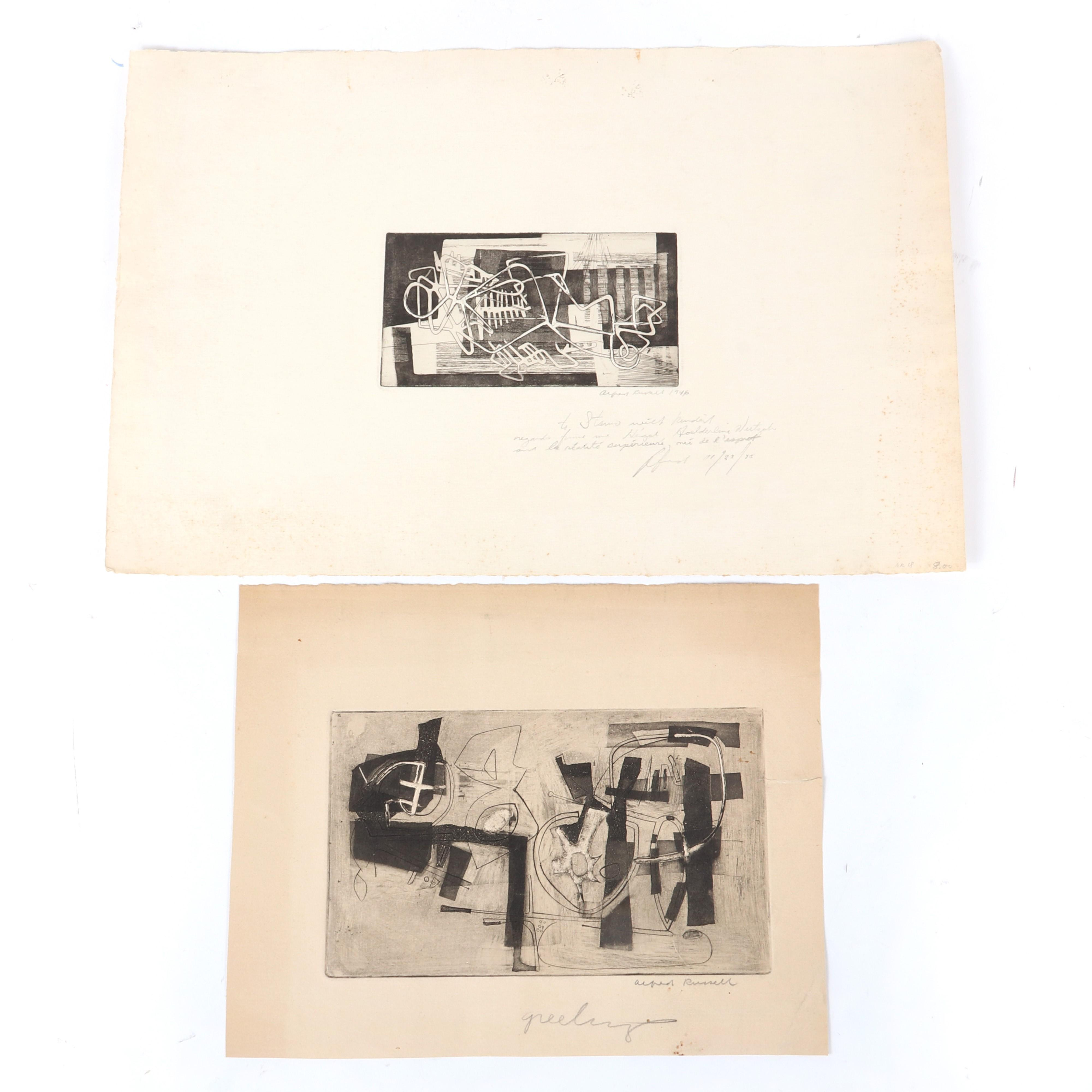 """Alfred Russell, (New York, 1920-2007), TWO etchings with intaglio, 1946, 3 3/4""""H x 7""""W (plate), 13""""H x 19 3/4""""W (sheet)."""