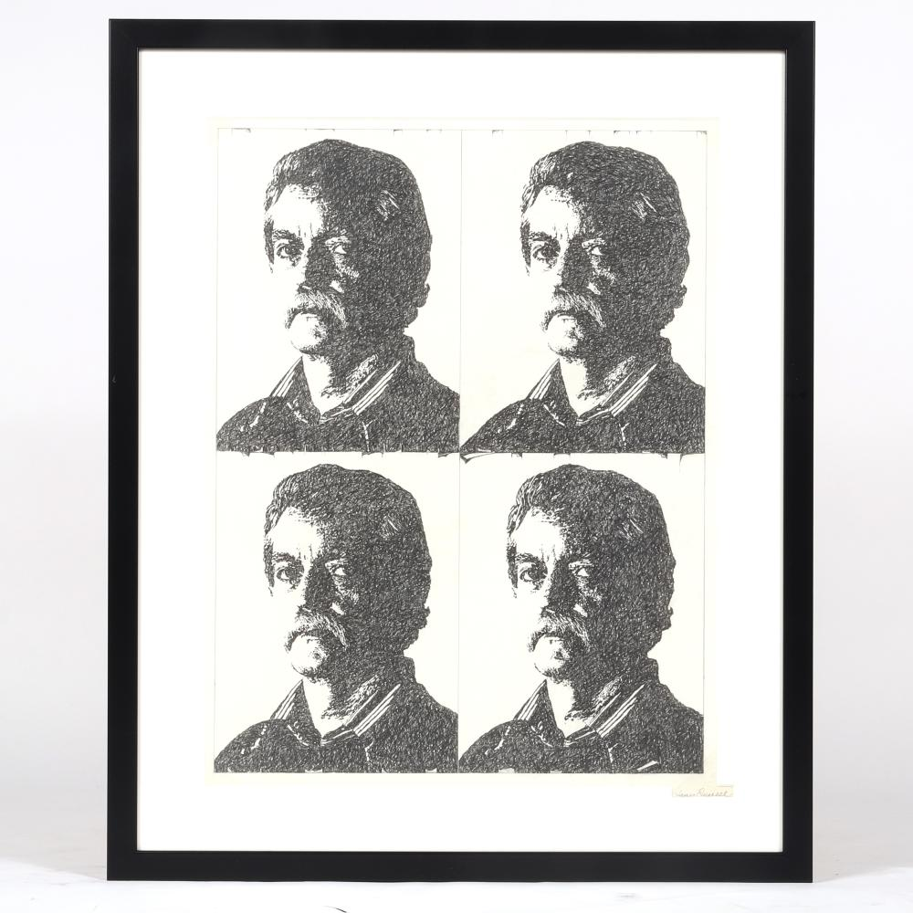 "James Spencer Russell, (American, 1915-2000), Self-Portrait (Times 4), graphite on paper, 28""H x 21 1/2""W (image), 36""H x 29 1/4""W (frame)."