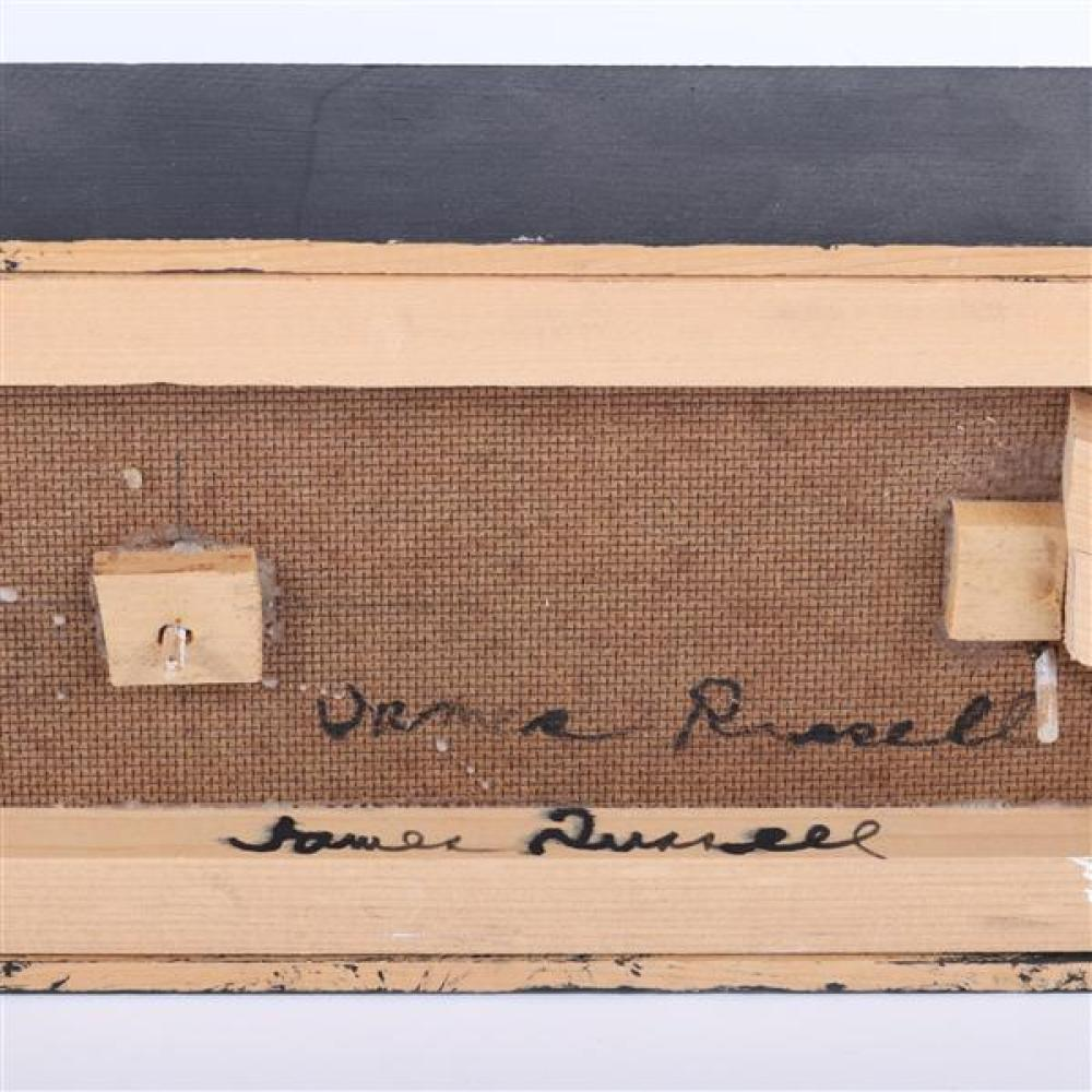 """James Spencer Russell, (New York / Indiana, b.1915), wall sculpture, painted, carved wood assemblage, 5 3/4""""H x 28""""W."""