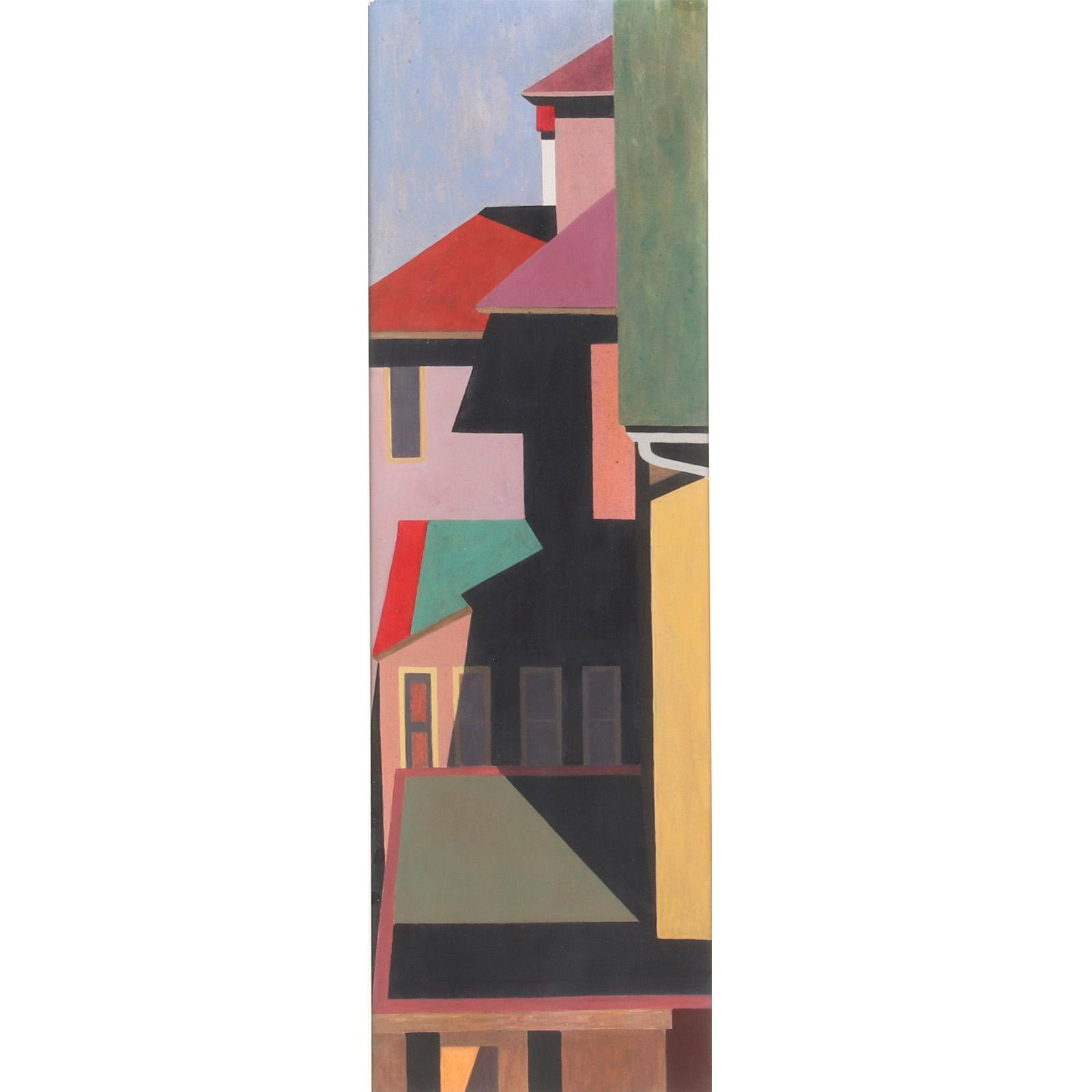 "Edmund Brucker, (American, 1912-1999), Untitled, Provincetown abstract buildings, ca.1945-50, gouache on board, 33 1/2""H x 10 1/4""W (image), 40""H x 16 1/2""W (frame)."