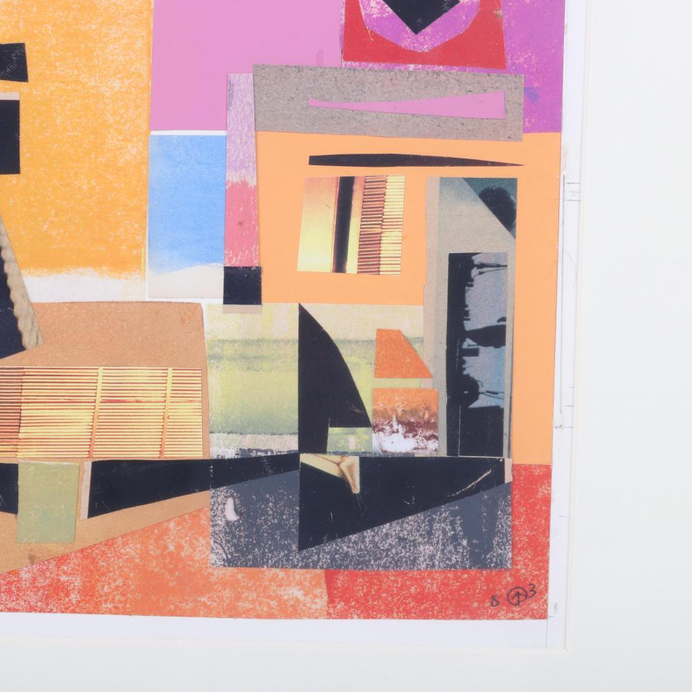 """Werner Drewes, (American, 1899-1985), Collage #595, 1983, oil and collage on paper, 9""""H x 7 3/4""""W (image), 21 1/2""""H x 17 1/2""""W (frame)."""