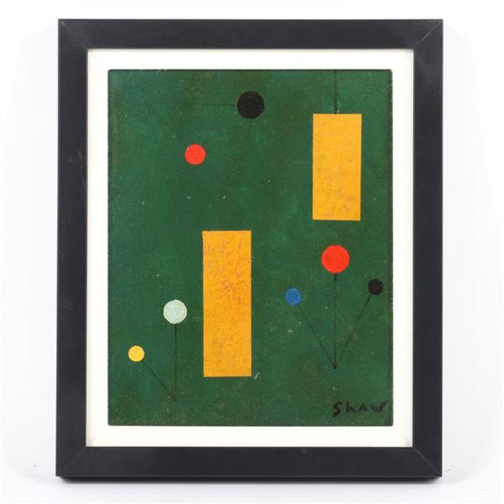 "Charles Green Shaw, (American, 1892 - 1974), untitled, 1940, oil on board, 9 1/4""H x 7 1/2""W (sight), 12""H x 10 1/4""W (frame)."
