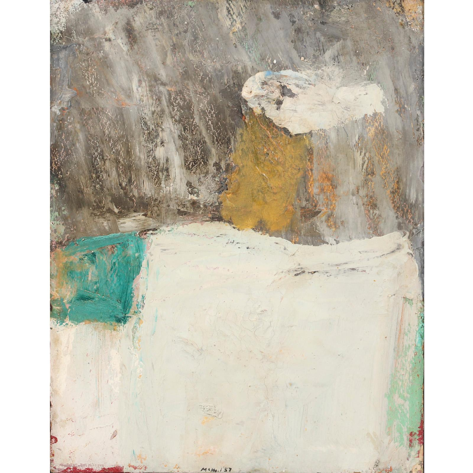 "George McNeil, (American, 1908-1995), Alcatraz, 1957, oil on panel, 14""H x 11""W (image), 11 3/4""H x 15""W (frame)."