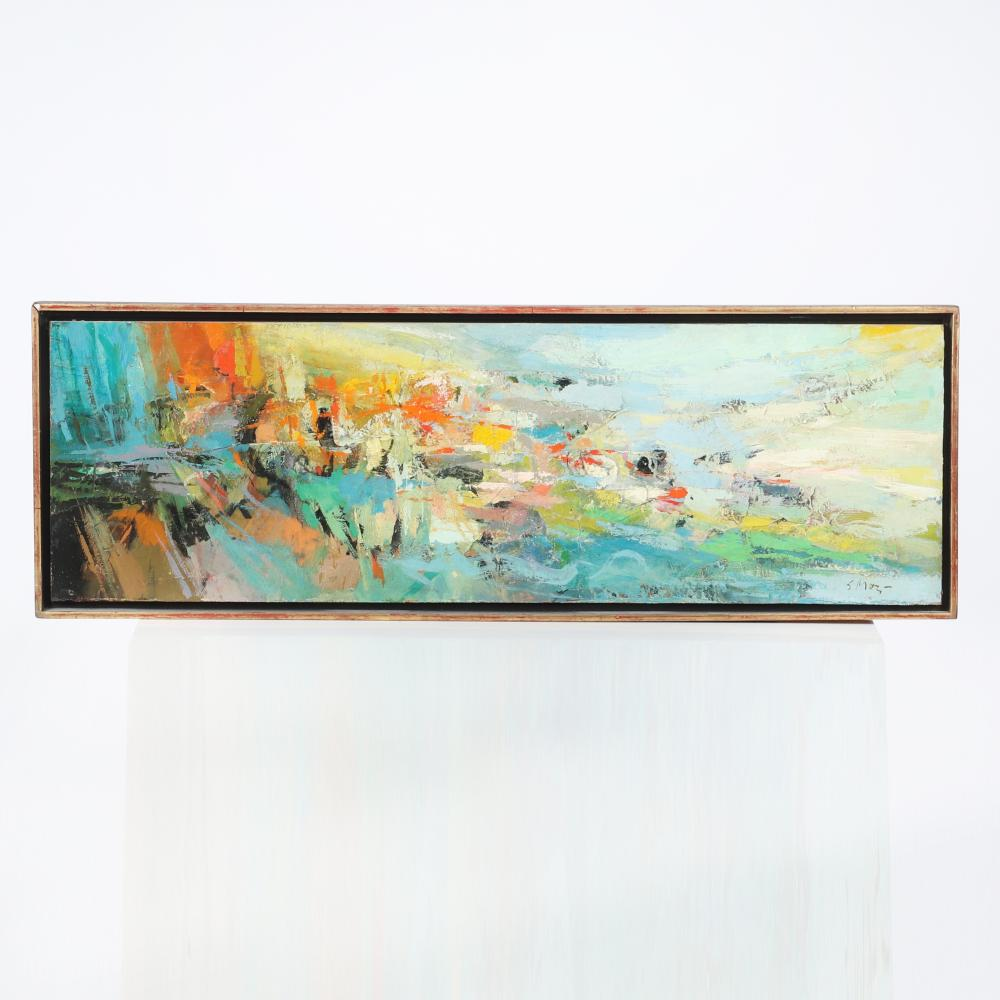 """Seong Moy, (Chinese American, 1921-2013), On Shore, oil on masonite, 9 1/4""""H x 29 1/4""""W (image), 10 1/4""""H x 30""""W (frame)."""