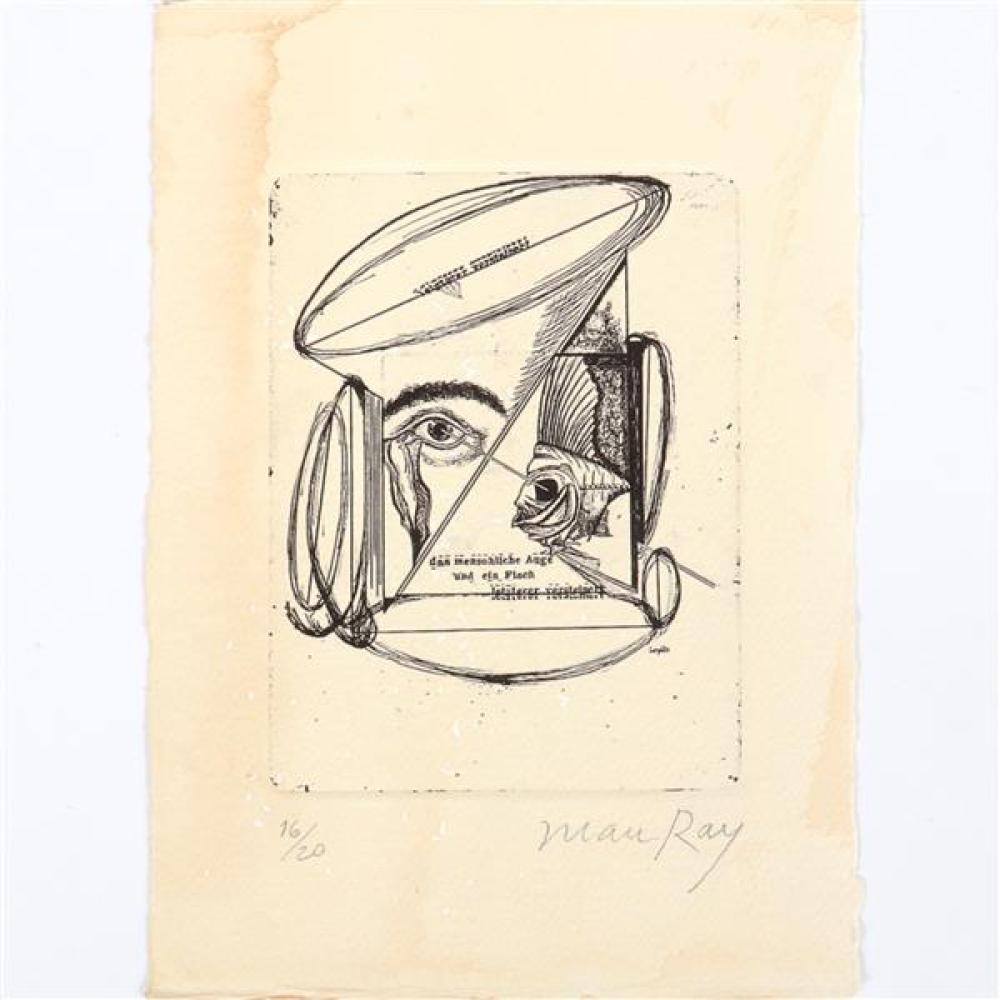 """Man Ray, (1890-1976), After Johannes Baargeld, Das menschliche Auge und ein Fisch, letzterer versteinert, 1920, etching, 5""""H x 4""""W (plate), 8 1/4""""H x 5 3/4""""W (paper)."""